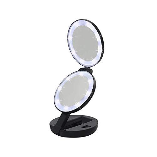 JAOSY Espejo de Maquillaje Negro Triple Redondo LED Espejo de luz de Doble Cara con Lupa Espejo portátil Creativo 5X Dos Archivos