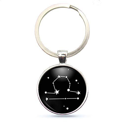 MeLifestyle Cabochon Schlüsselanhänger Sternzeichen Waage Astrologie Sternenbild Geschenk