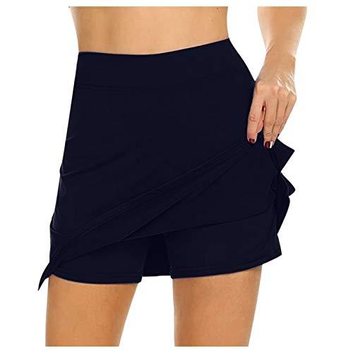 Damen Sport Hosenrock mit Tasche Tennisrock Skirt für Laufen Tennis Golf Leichter Workout Rock Gefälschten Zweiteiligen Hakama Kleider (B-Marine, S)