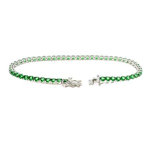 Bracciale tennis con zirconi da 3mm a griffe color smeraldo in argento 925 sterling anallergico placcato oro bianco lunghezza 18 cm