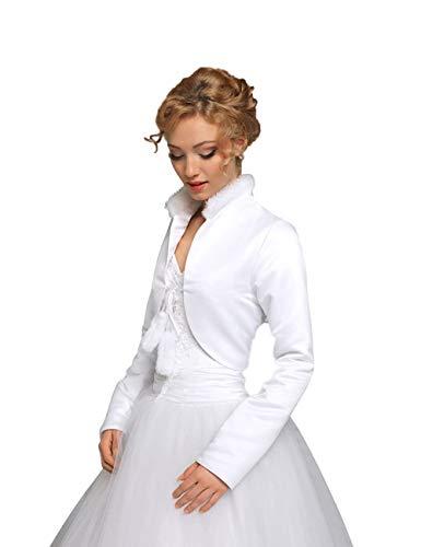 Giacchetta da sposa in Satin foderato con Colletto–BA75 bianco 48