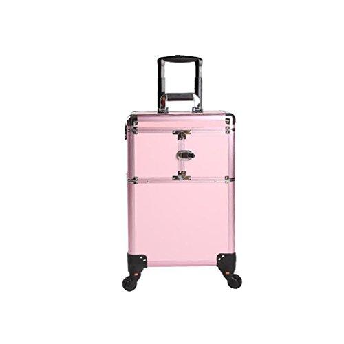 Ali@ Beauté Profession Chariot Trousse Cosmétique En Alliage D'aluminium Haute Capacité Universelle Roue Tatouage Avec Maquillage Boîte à Outils (Couleur : Pink)
