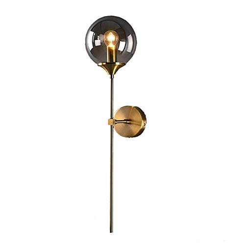 MZStech Aplique montado en la pared industrial vintage, globo de cristal Gris con lámpara de pared dorada de brazo largo, luz de pared dorada para la cabecera (Gris)