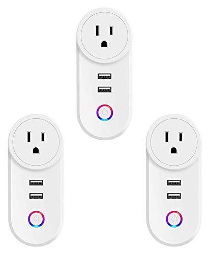 Conector conectado a WiFi, enchufe de zócalo inteligente con 2 puertos USB, compatible con Alexa, control remoto de voz Total de temporizador de control, sin hub requerido (3pcs) (Size : US)
