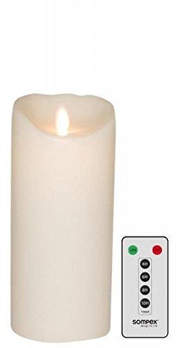 sompex Set Flame LED Echtwachskerze weiß 8x18cm mit Fernbedienung