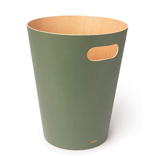 Umbra Woodrow Abfalleimer – Zweifarbiger Holz Papierkorb für Büro, Badezimmer, Wohnzimmer und Mehr, 7,5l Fassungsvermögen, Natur / Salbei Grün