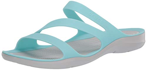 Crocs Swiftwater Sandal Women, Sandalias de Punta Descubierta para Mujer, Azul (Ice Blue/Pearl White 4cv), 37/38 EU