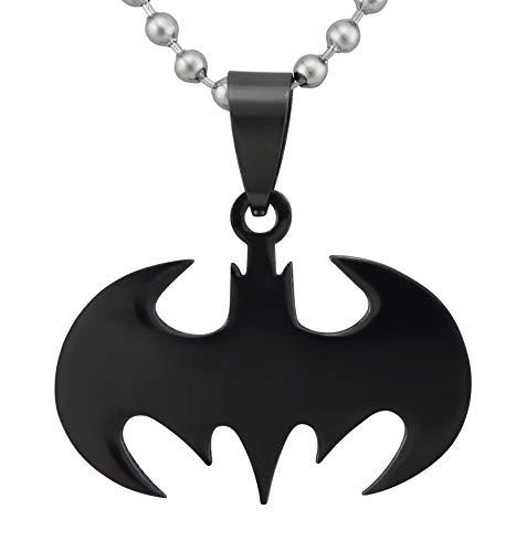 Hanessa Collier chauve-souris Batman Dark Knight avec chaîne à boules en argent en acier inoxydable Cadeau de Noël pour un ami ou un homme