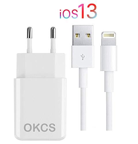 OKCS Originals Ladegerät - USB Ladekabel 1M + 2A Netzteil kompatibel für iPhone 11, 11 Pro, 11 Max, S, XR, XR Max, X, 8, 8 Plus, 7, 7 Plus etc. - Farbe Weiß