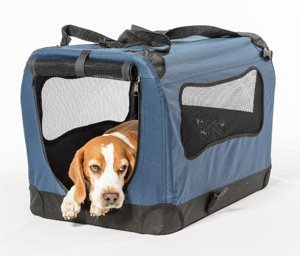 2PET Foldable Dog Crate - Soft, Easy to Fold & Carry Dog Crate for Indoor & Outdoor Use - Comfy Dog Home & Dog Travel Crate - Strong Steel Frame, Washable Fabric Cover, Frontal Zipper Large Blue
