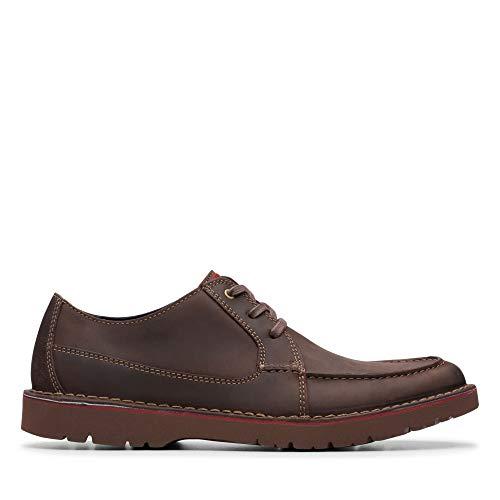 Clarks Vargo Vibe, Zapatos de Cordones Derby para Hombre, Marrón Oscuro Lea Dark Brown Lea, 42 EU