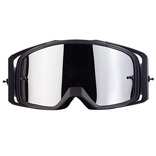 Motorcycle Goggles Motocross Dirt Bike Goggles Adjustable Anti-UV Protective Anti Fog Tactical Goggles for Riding Cycling[ 2020 New Version] (Black Frame Sliver Lenses)