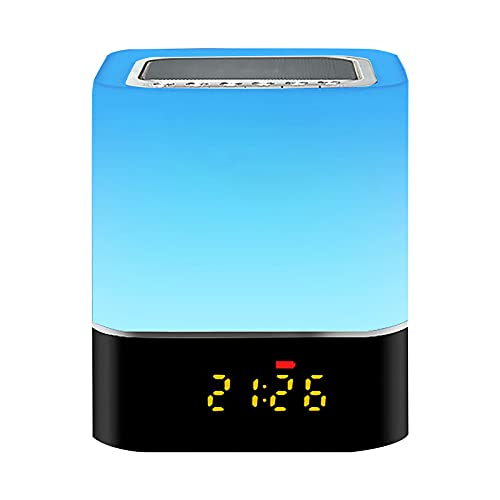 Laiashley Altavoz Bluetooth con luz nocturna, reloj despertador con control táctil, lámpara...