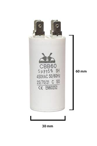 ELECTROFIT CBB60 5 uF 450V bedrijfscondensator motor start condensator voor airconditioning, compressoren en elektromotoren