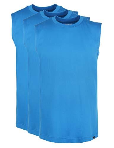 Ultrasport Herren Sport Freizeit Tank Shirt Ärmellos Tankshirt, Blau, XXXL , 3er Set