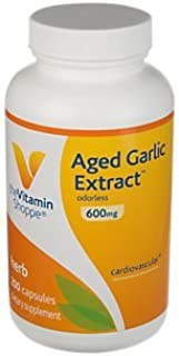 Aged Garlic Extract 600mg Capsules, Odorless Natural Powder Extract, Herbal Supplement Provides Heart Health Support, Bloo...