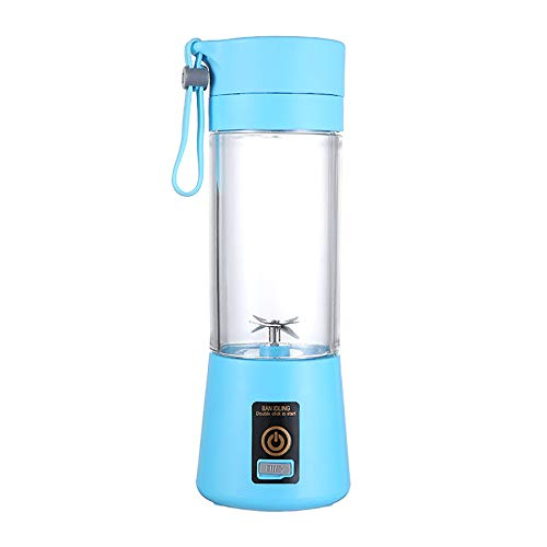 Licuadora personal, exprimidor de zumo portátil, batidora de fruta, mini batidora, batidora de zumo USB, recargable, 6 cuchillas en 3D para una mezcla excelente, 380 ml (azul)