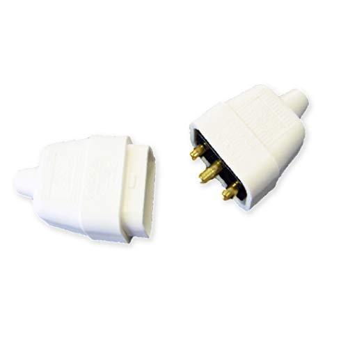 Pro Elec ? 3 broches In-Line connecteur en caoutchouc, 10 A Blanc