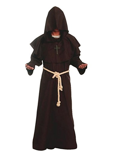 Friar Medieval Hooded Monk Renaissance Priest Robe Costume Cosplay Brown