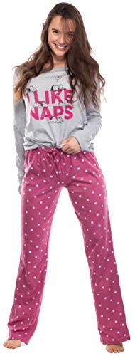 Brandsseller Damen Schlafanzug Zweiteilig - Pyjama Freizeitanzug Set mit Motiven im Stil von Snoopy (Hellgrau/Pink, Medium)