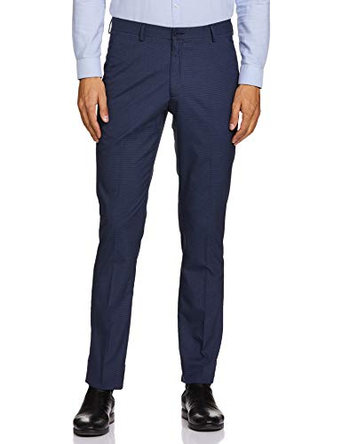 John Miller Men's Slim Fit Formal Trousers (PJNML-TRO-0014928_Blue_38)