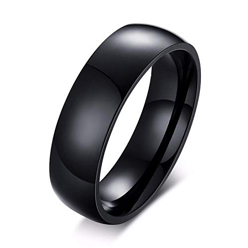 RNXRB 6mm Stainless Steel Wedding Bands 6MM Domed Ring for Men Women Engagement Ring for Him Her Jewelry Male Punk Fashion Accessories-11_black