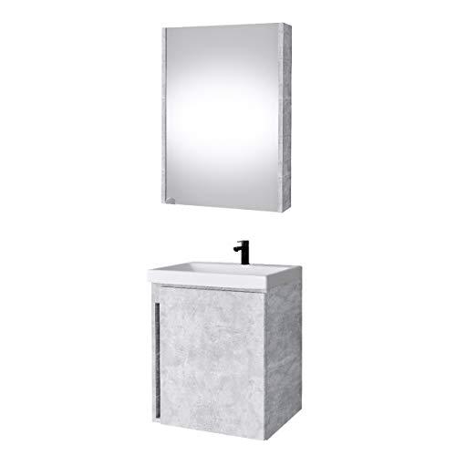 Planetmöbel Waschtisch + Spiegelschrank Badmöbel Set 50cm für Badezimmer WC (Beton)