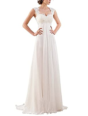 Women's Sleeveless Lace Chiffon Evening Wedding Dresses Bridal Gowns US 8 Ivory