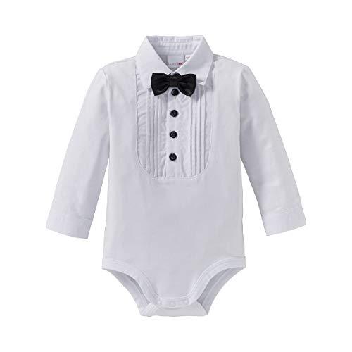 Bornino Baby Body langarm Hemd mit abnehmbarer Fliege/Langarmbody Junge/Jersey-Qualität/weiß