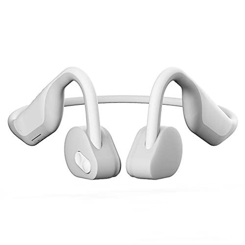 AQUYY Auriculares Inalámbricos Bluetooth 5.0 Auricular de Conducción ósea Ligeros, IPX5 Impermeable Cascos Deportivos Correr, Auriculares de Oreja Abierta Estéreo a Prueba de Sudor White