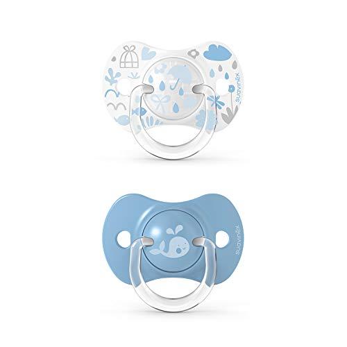 Suavinex, Confezione da 2 Succhietti con Tettina Simmetrica in Silicone SX Pro, per Bambini da 0 a 6 Mesi, Azzurro