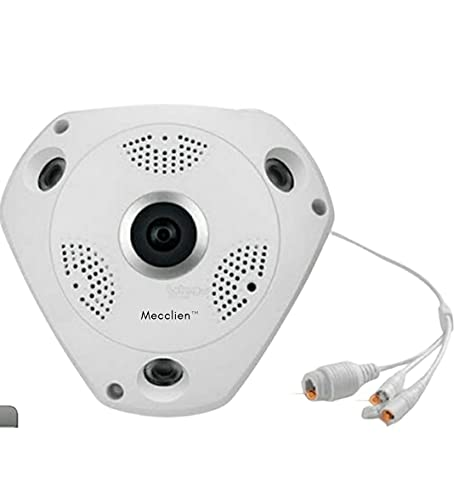 Mecclien 360 Degree Fisheye Wired Panoramic Security CCTV Camera 1080P HD Security Panoramic Camera Surveillance Camera Home Surveillance VR System