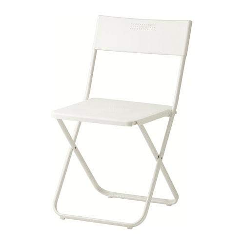 Ikea Fejan, sedia pieghevole per esterni, colore: bianco