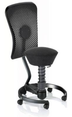 aeris swopper STANDARD ergonomischer Bürostuhl ohne Rollen | Sitzbezug Softex Schwarz | Feder medium (60-120 kg) | Basisfarbe Anthrazit | höhenverstellbarer Drehstuhl, Computerstuhl, Drehhocker