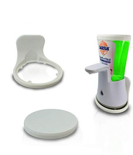 Set: Wandhalterung und Nachfülldeckel passend für Sagrotan No Touch Seifenspender soap Dispenser Wand kleben - Weiss