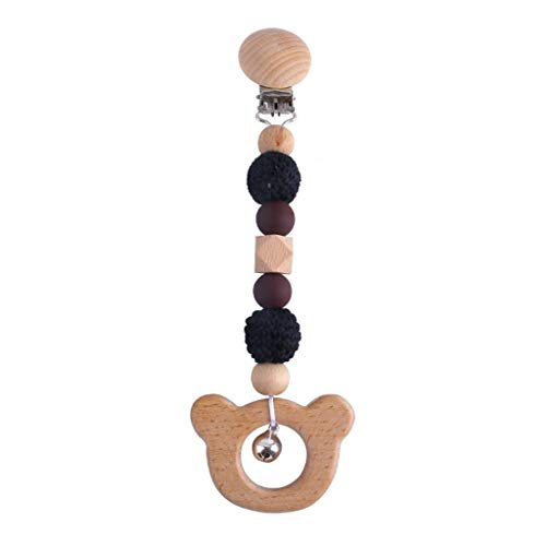 Sayletre Stroller Chain Rattle Mobile Holder Wooden Nursing Molar Baby Teether Teething Pendant Pram Clip Hanging Toy Soother Infants Shower Gifts