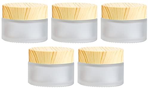 Winfred 5 Stück Glastiegel mit Bambusdeckel für DIY-Naturkosmetik Pipetten-Flaschen Reise Behälter für Salben & Lotionen (30ml )