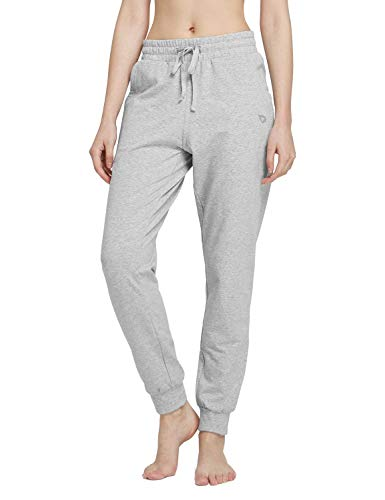 BALEAF Women's Cotton Sweatpants Lightweight Joggers Pants Tapered Active Yoga Lounge Casual Pants with Pockets Light Gray Size XL