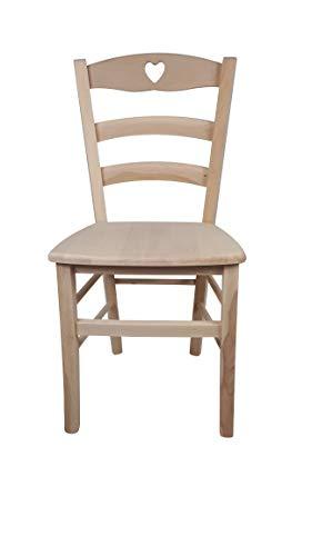 Sedia Cuore, in Legno Massello, Vari Colori e Sedute Disponibili, Alta qualità, Ordine Minimo 2 Pezzi (Grezza, Massello)