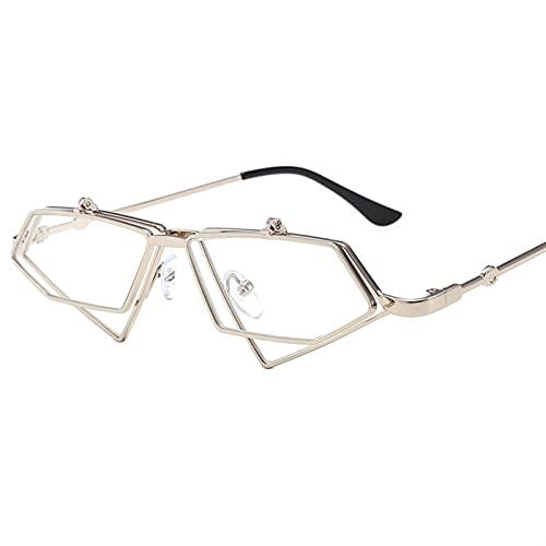 KANCK Flip Up Gafas de Sol Mujeres Gafas de Sol Femenino Marco de Metal Eyewear UV400 (Lenses Color : Sliver F Clear)
