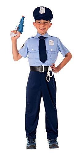 Magicoo Polizei Kostüm Kinder Jungen mit Muskeln - Gr 110 bis 152 - Fasching Polizist Kostüm Kinder (140/152)
