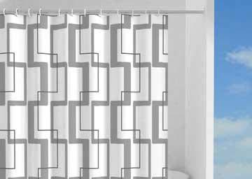 Gedy Duschvorhang, 120 x 200 cm, Ringe, waschbar.