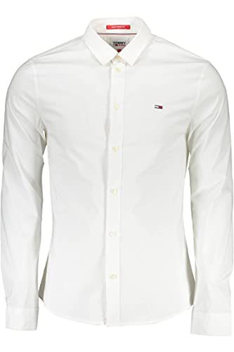 Tommy Jeans Tjm Super Skinny Solid Shirt Camicia, Bianco, M Uomo