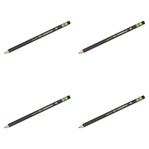Dixon Tri-Conderoga Triangular #2 Pencils, Wood-Cased, Black, Pack of 12 (22500), 4 Packs