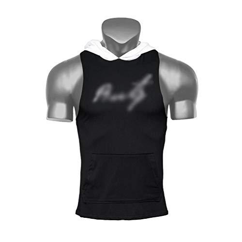 WYNZYYX Camiseta sin mangas para hombre, sin mangas, para entrenamiento, gimnasio, deportes al aire libre, ajustada, negro, extra-large