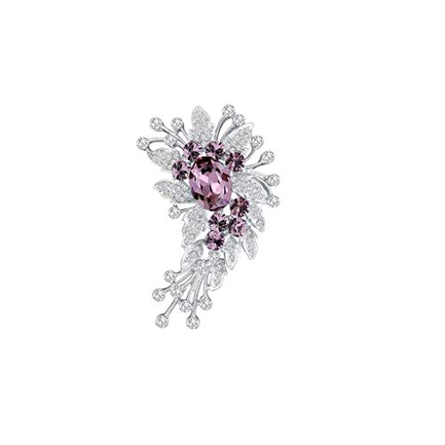 Joyas de Broche de Cristal Tipo Trigo, for Accesorios de Ropa de Pin Elegante for Mujer, Regalo for Madre 6.9x4.8cm (Color : Pink)