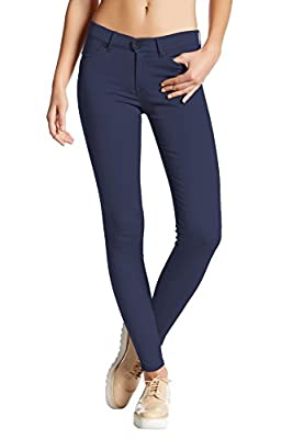 Hybrid & Company Womens Super Stretch Comfy Skinny Pants P44876SK Navy Medium