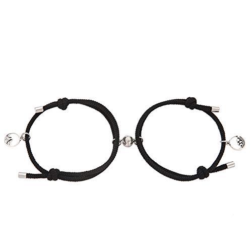 Herbests - Par de pulseras magnéticas, pulsera de cuerda ajustable, cuerda de atracción reciproca trenzada, colgantes con colgantes, par de regalo para mujer y hombre, color gris Negro