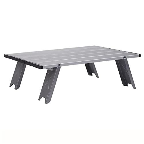 MQH Campingtisch Camping-Tisch Mini-Klapptisch im Freien Grill Camping Zelt Haushaltsbett ausklappbarer Aluminium-Folding-Camping-Tisch Picknicktisch (Color : Silver)