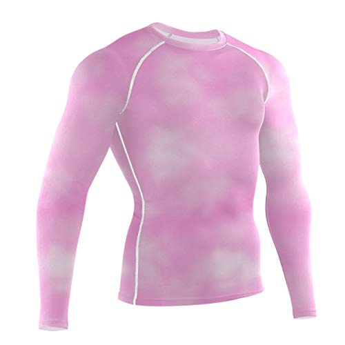 PUGONGYING Men's Long Sleeve Compression Shirts, Pink Tie Dye Sports Base Layer Top, Athletic Workout Shirt